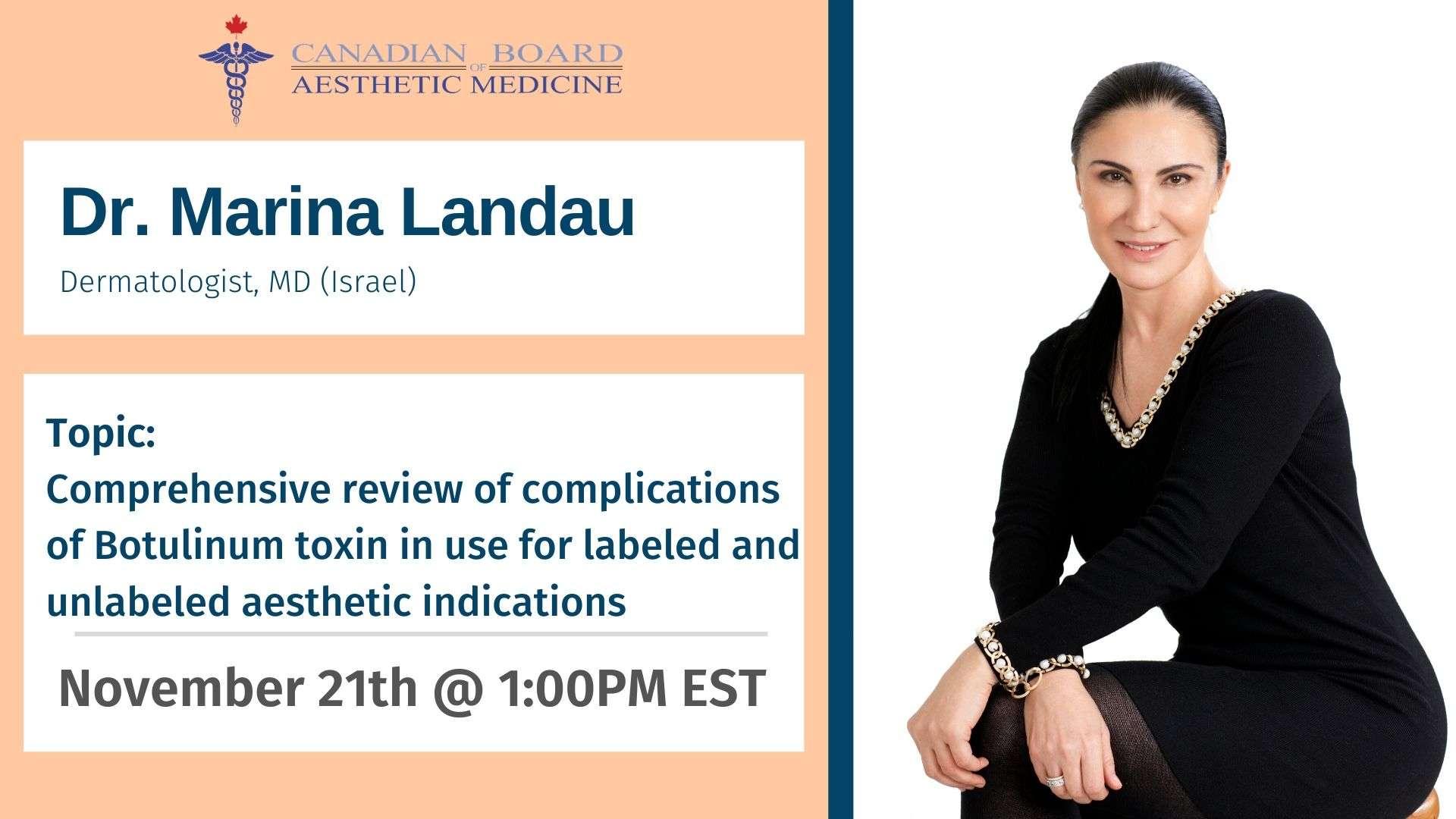 Marina Landau, Injectables, CBAM, Botox, Filler, Cadaver, Lab, Education, Master, Basic, Advance