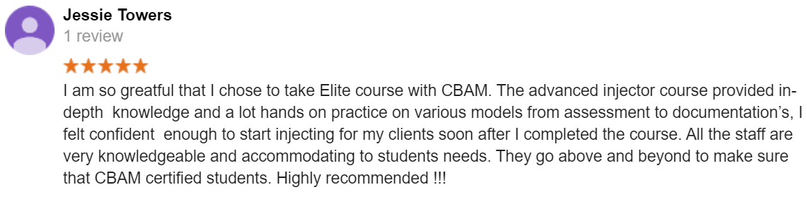 CBAM, Course Review, Elite, Botox and Filler Course, Training